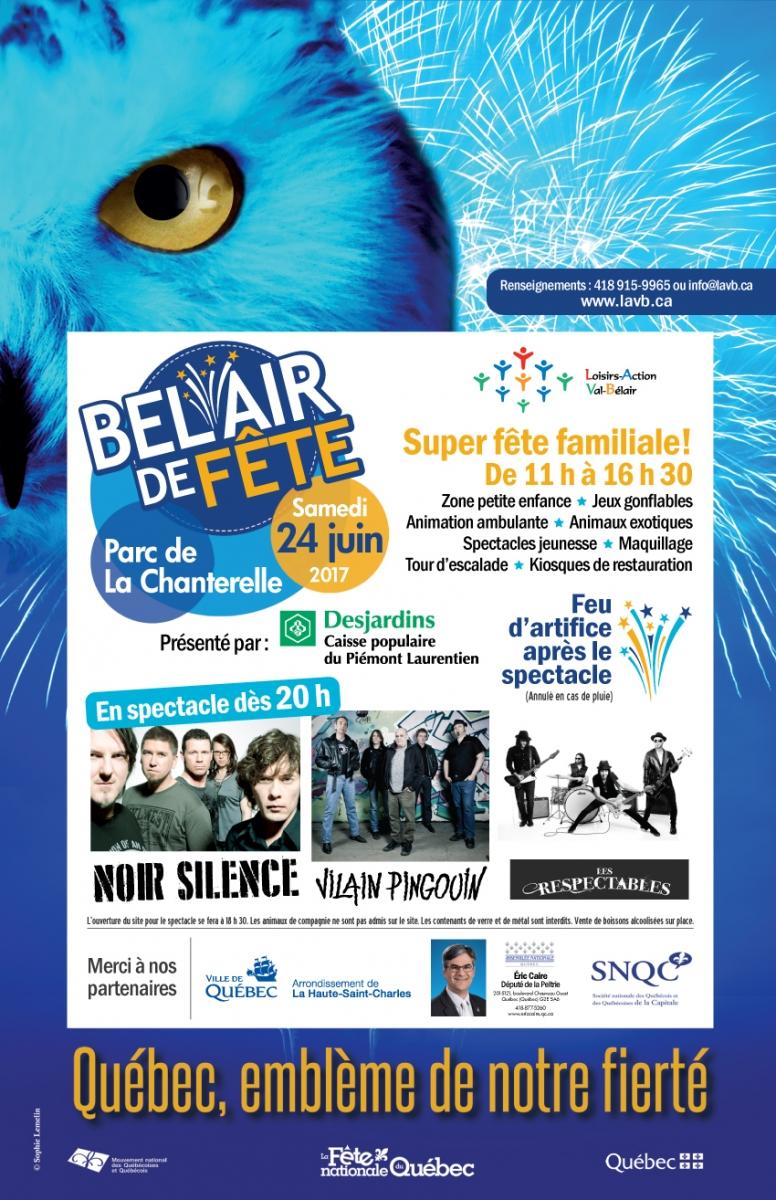 Bannière imagée résumant les activités : un hibou bleu regarde dans votre direction (c'est l'emblème du Québec utilisé pour la fête 2017). Trois photos des groupes de musique invités.